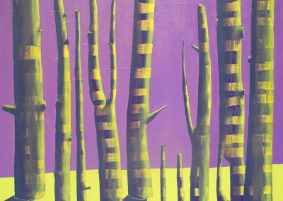 Purple and Yellow Forest, 85 x 100 cm, Acrylic and oil on linen, 2014