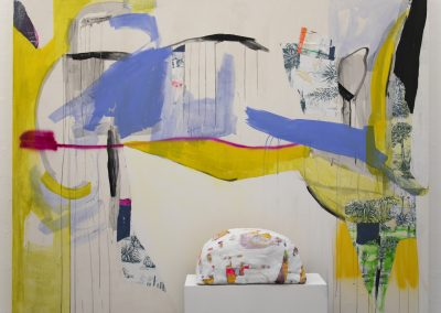 'In the desert a fountain is springing, (- Lord Byron, from 'Stanzas to Augusta'),  mixed media installation, painting: 180x240 cm, 2018