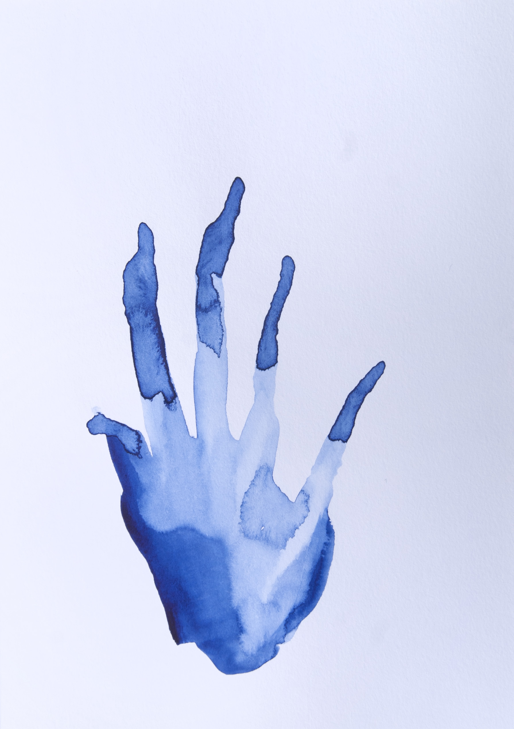 Blue Hand #1, watercolour on paper, 14.8 x 21 cm, 2020